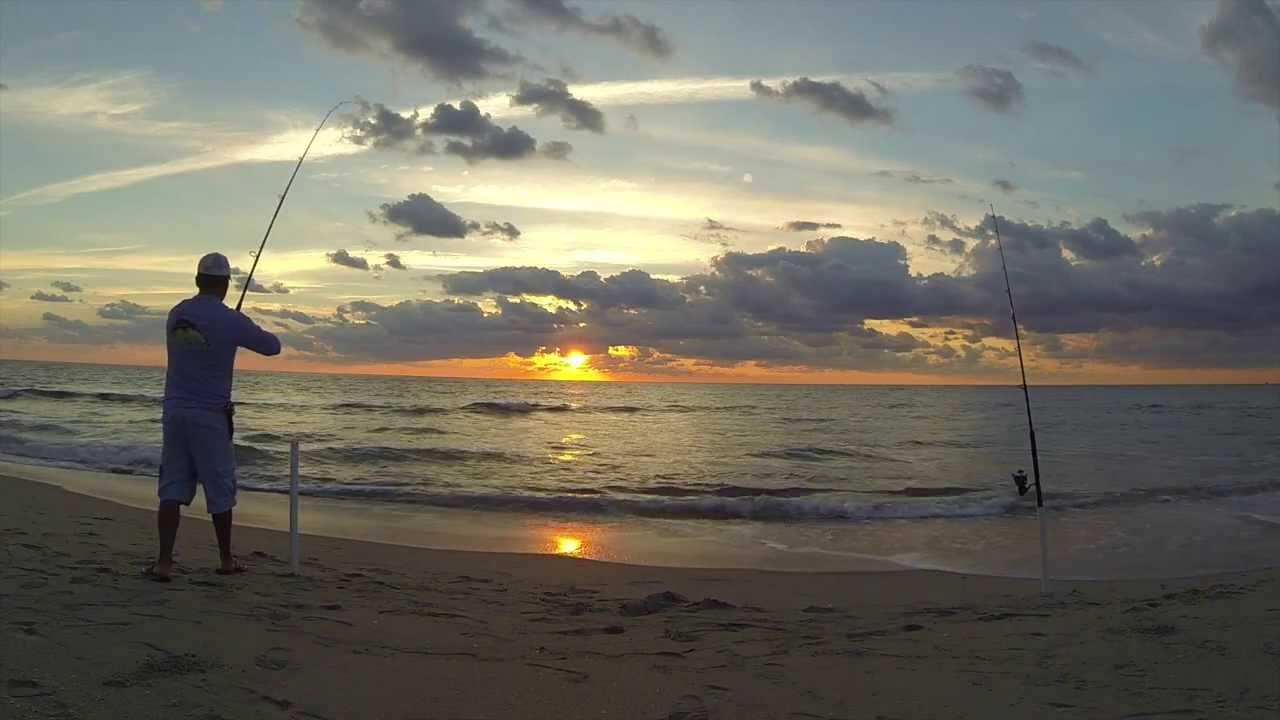 Palm beach surf fishing beautiful sunrise youtube for Palm beach fishing