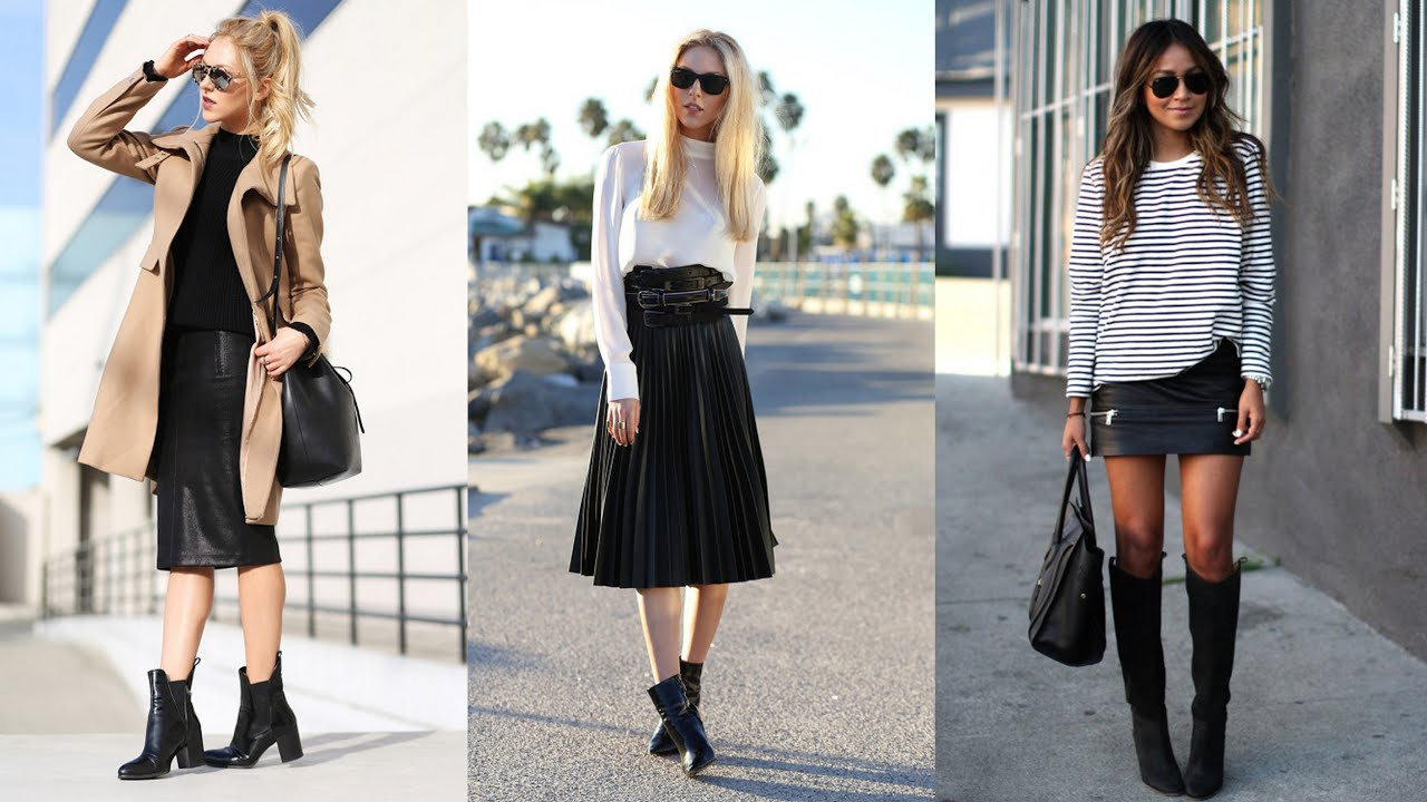 22 Stylish Ways How to Wear Leather Skirts This Winter - YouTube