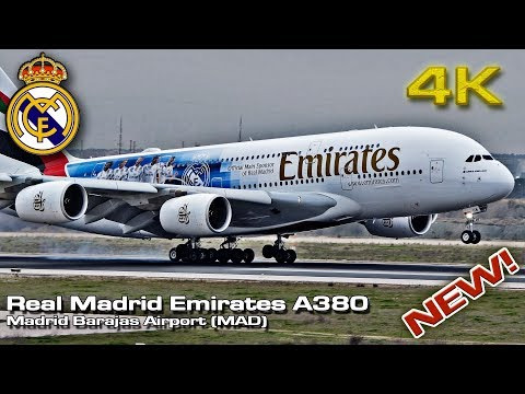 Real Madrid On Board! Emirates A380 [4K] 2018 New Livery!