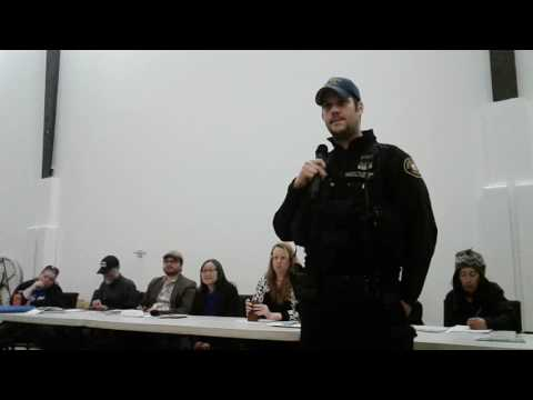 Lents neighborhood meeting / man threatens to use bat on homeless