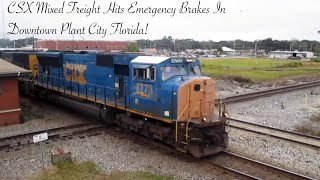 CSX Freight Goes Into Emergency And Stops Right On Diamond In Plant City!