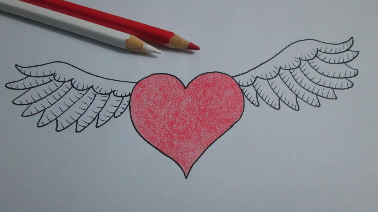 Dibujos De Corazones Coloridos: Como Desenhar Um Coração Com Asas