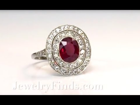 Antique Inspired 2.83ct t.w. Natural Oval Cushion Ruby & Double Diamond Halo Platinum Ring