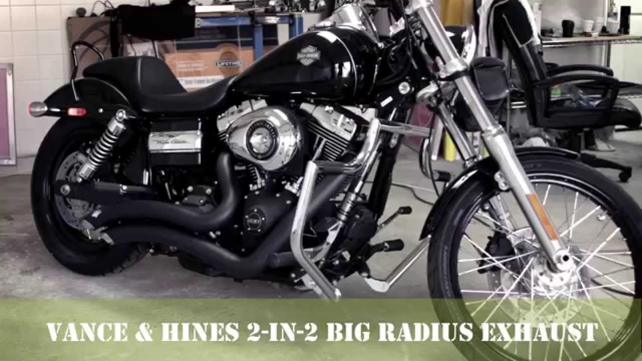 vance and hines big radius 2 in 2 exhaust dyna wide glide 2012 before and after