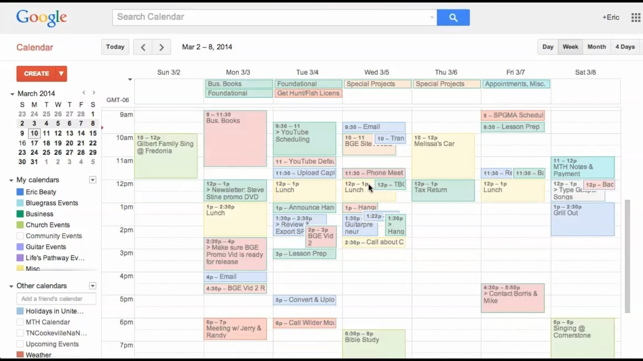 how to use google calendar as a planner