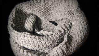 Вяжем теплый снуд рельефным узором. Видеоуроки вязания для начинающих.