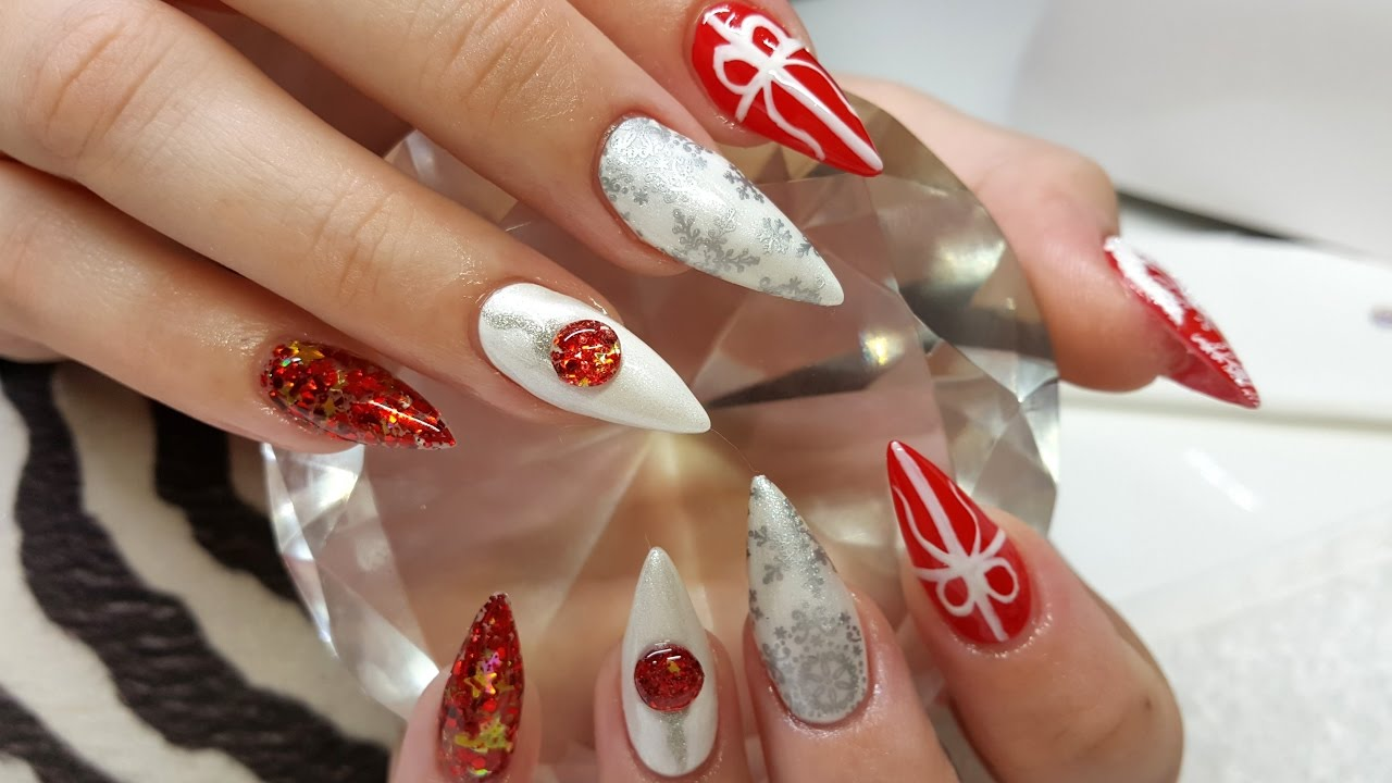 Acrylic Nails Christmas Nail Design - Acrylic Nails Christmas Nail Design - YouTube