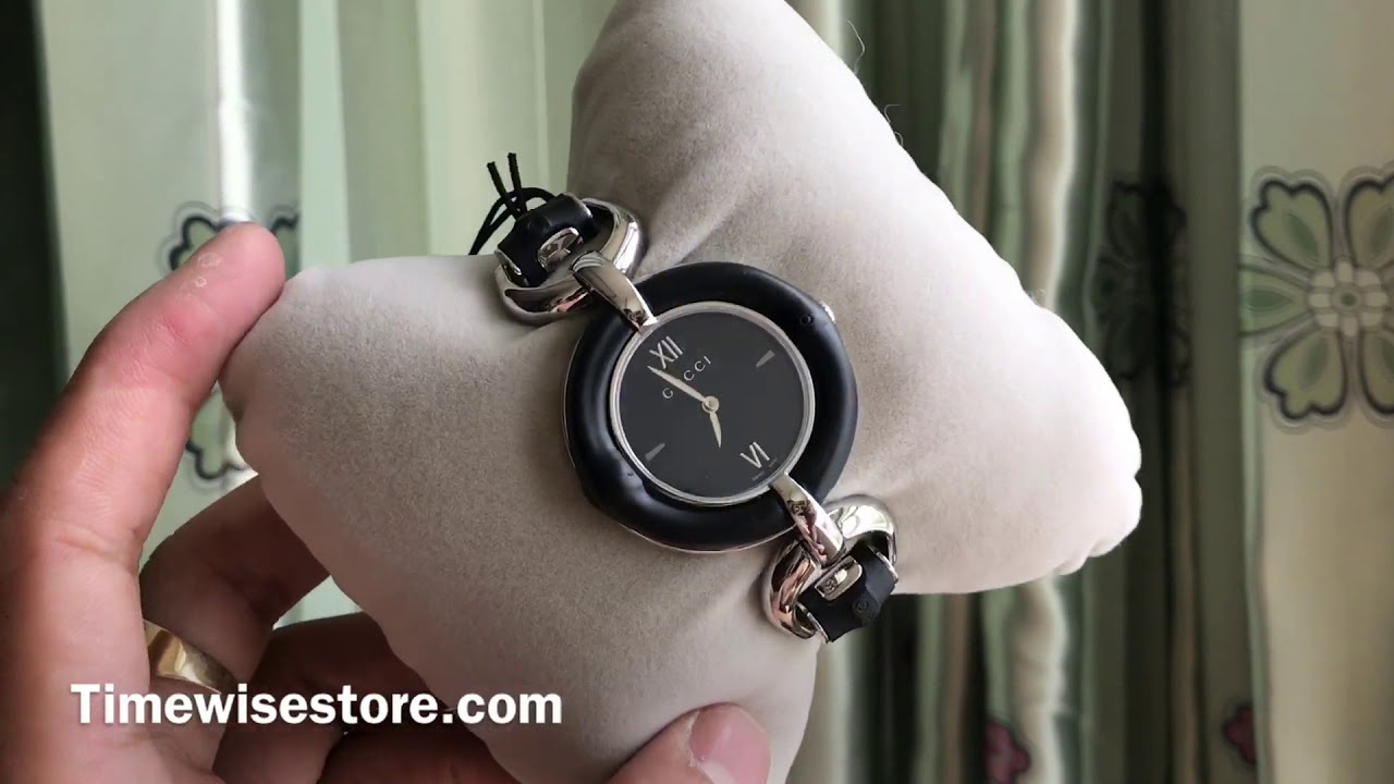 7403091a2f6 (Review Đồng Hồ ) GUCCI BAMBOO BLACK DIAL STAINLESS STEEL LADIES WATCH ITEM  NO. YA132405 35MM