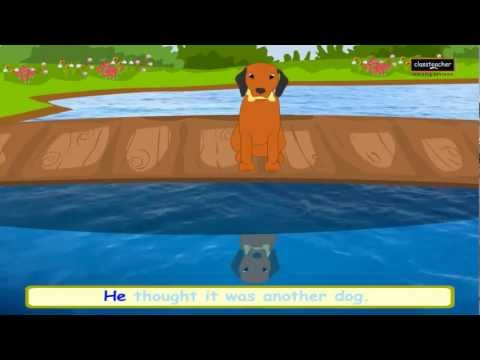 The Greedy Dog   English Nursery Story   Animated Aesop Fable with Lyrics- Classteacher Learning