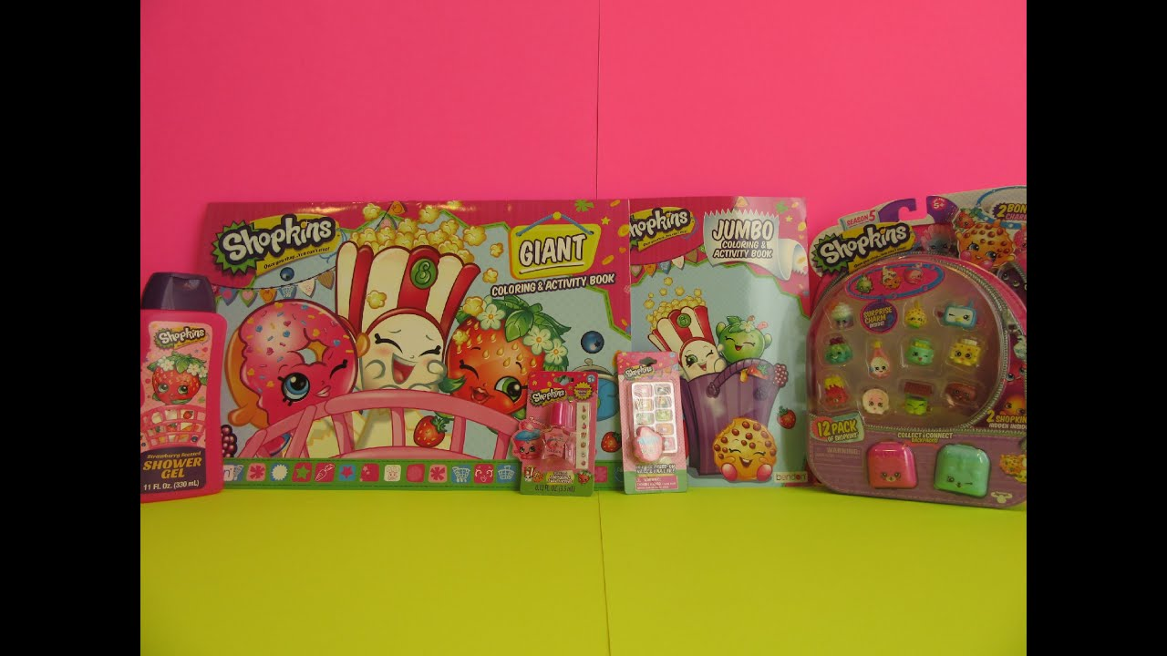 Shopkins giant coloring book - Shopkins Review 12 Pack With 2 Surprises Shower Gel Giant Color Jumbo Activity Book Nail Art