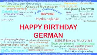 German   Languages Idiomas - Happy Birthday