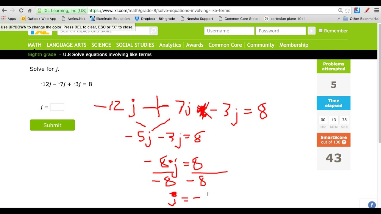 IXL Math MultiStep Equation Med - YouTube