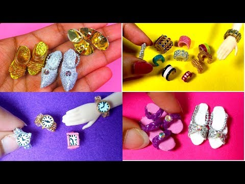 Cute Doll Miniature Watch, Sandals and Shoes (Best Doll miniatures DIY EASY)!