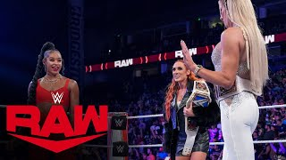 Becky Lynch Bianca Belair and Charlotte Flair have a heated exchange Raw Oct 4 2021