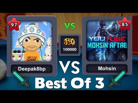 8 Ball Pool Best Of 3  Deepak8bp VS Mohsin Aftab ( HuntR 3-One-6) Youtuber