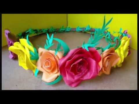 Paper Flower Crown  DIY।। only glue & paper।। Bridal Tiara By Ruba's Craft World😍