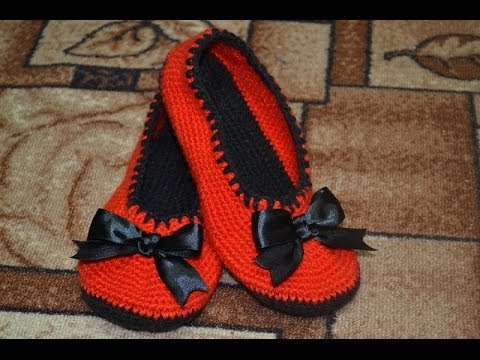 Тапочки - балетки крючком (Slippers - crochet ballet flats)