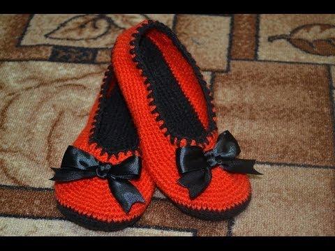 тапочки балетки крючком Slippers Crochet Ballet Flats Youtube