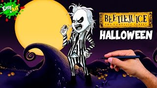 Cómo Dibujar a Bitelchús │How to draw Beetlejuice│Halloween
