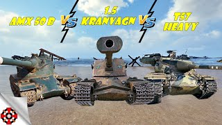 World of Tanks - T57 Heavy vs AMX 50 B vs Kranvagn (WoT gameplay)