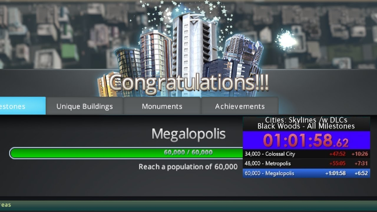Cities Skylines - All Milestones - World Record Attempt 1:01:58