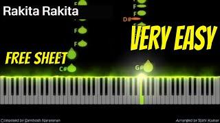 Rakita Rakita Piano Tutorial Easy | BGM | Jagame Thandhiram | Notes | Keyboard | Instrumental