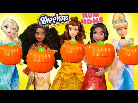 Thumbnail: Disney Princess Surprise Pumpkin Moana Elsa Elena Shopkins toys egg surprises halloween stop motion