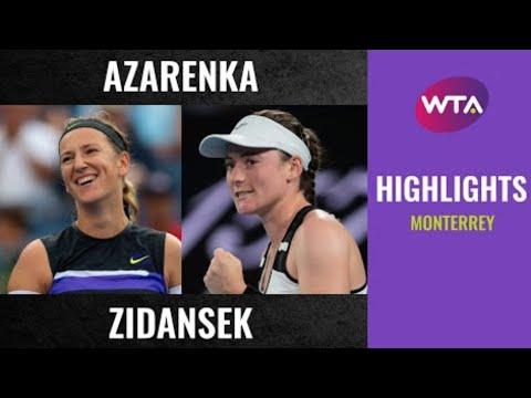 Victoria Azarenka vs. Tamara Zidansek | 2020 Monterrey First Round | WTA Highlights