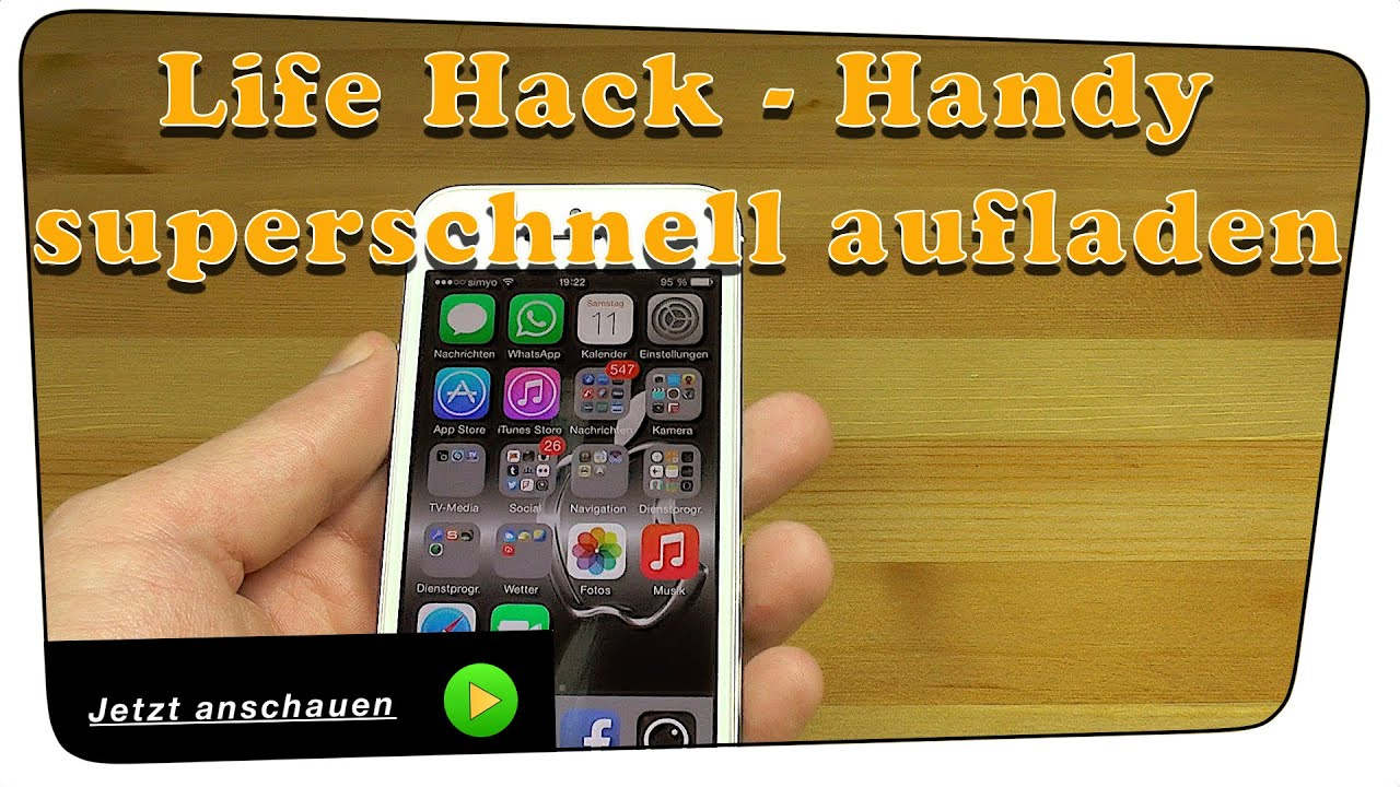 handy smartphone akku superschnell aufladen life hack tutorial youtube. Black Bedroom Furniture Sets. Home Design Ideas