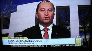 Virginia Trioli crazy face at Senator Barnaby Joyce on ABC2 news breakfast