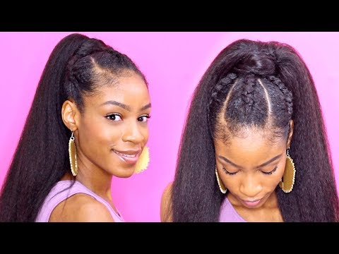 Two Cornrows On Natural Hair With Extensions Blue Feed In Braids