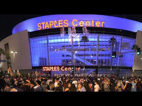 L.A. Laker Fans Celebrate NBA Title outside of Staples Center - 4K