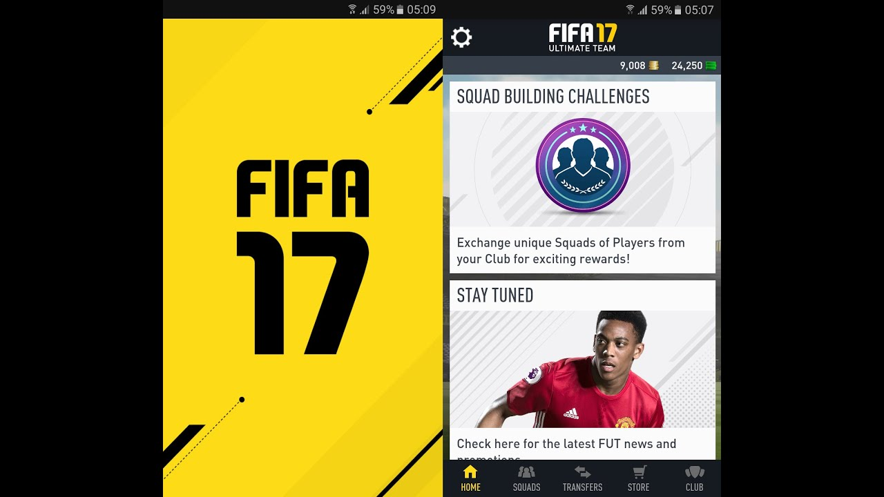 FIFA 17 Companion App Squad Building Challenges Android