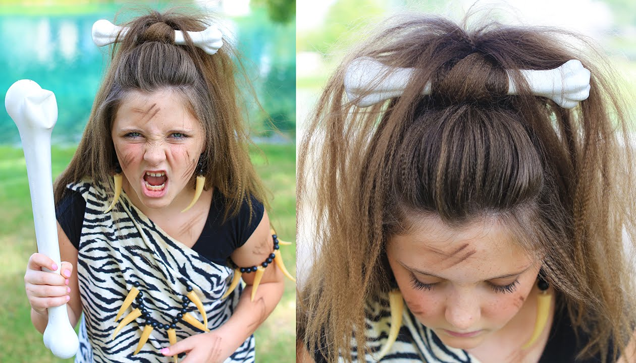 cave woman half-up | halloween hairstyles | cute girls hairstyles