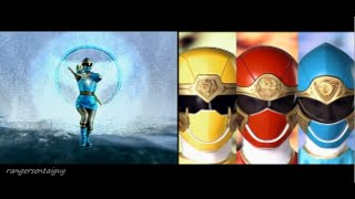 Power Rangers Ninja Storm First Appearance Split Screen (PR and Sentai version)