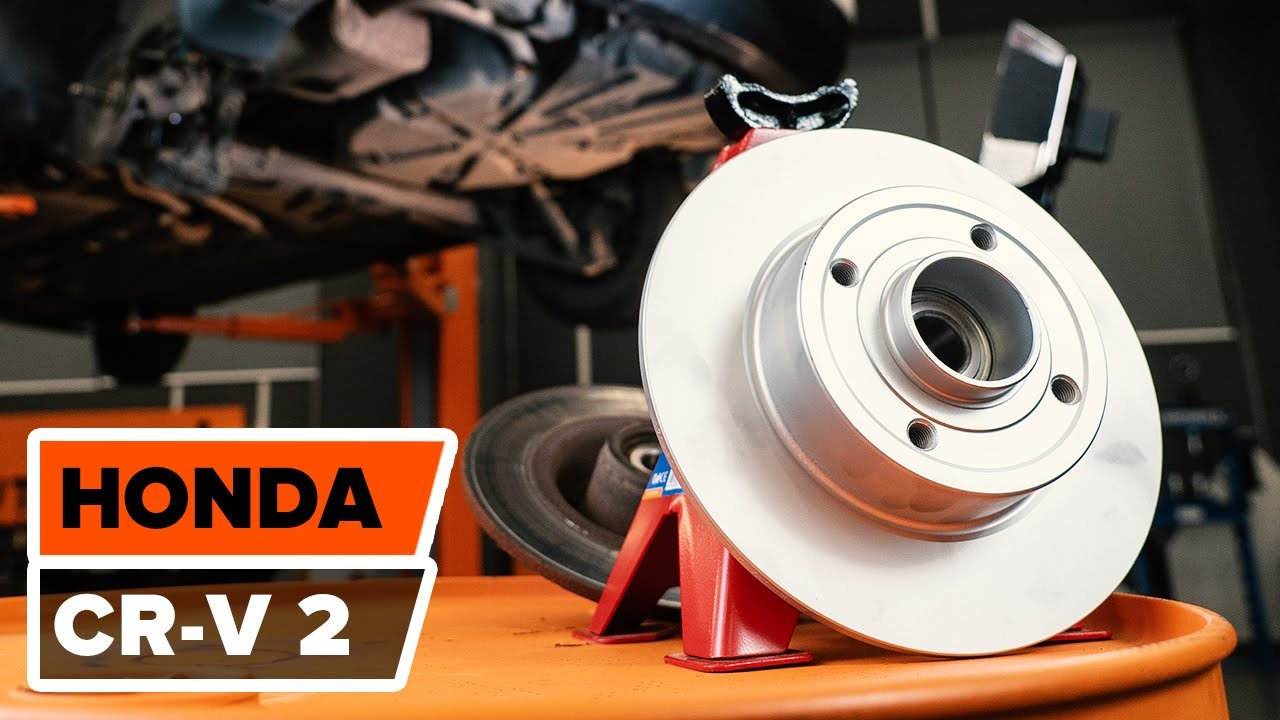 How to replace rear brake discs and rear brake pads on HONDA CR-V 2 TUTORIAL | AUTODOC - YouTube