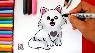 Aprende a dibujar un LOBO BLANCO Kawaii bebé | How to Draw a Cute Baby Wolf