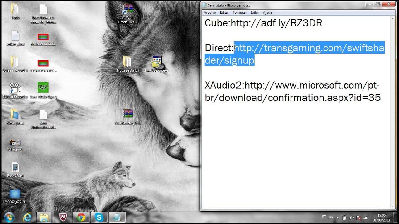 Como Baixar Gratis e Solucionar o Problema do DirectX e XAudio2 no Cube  World