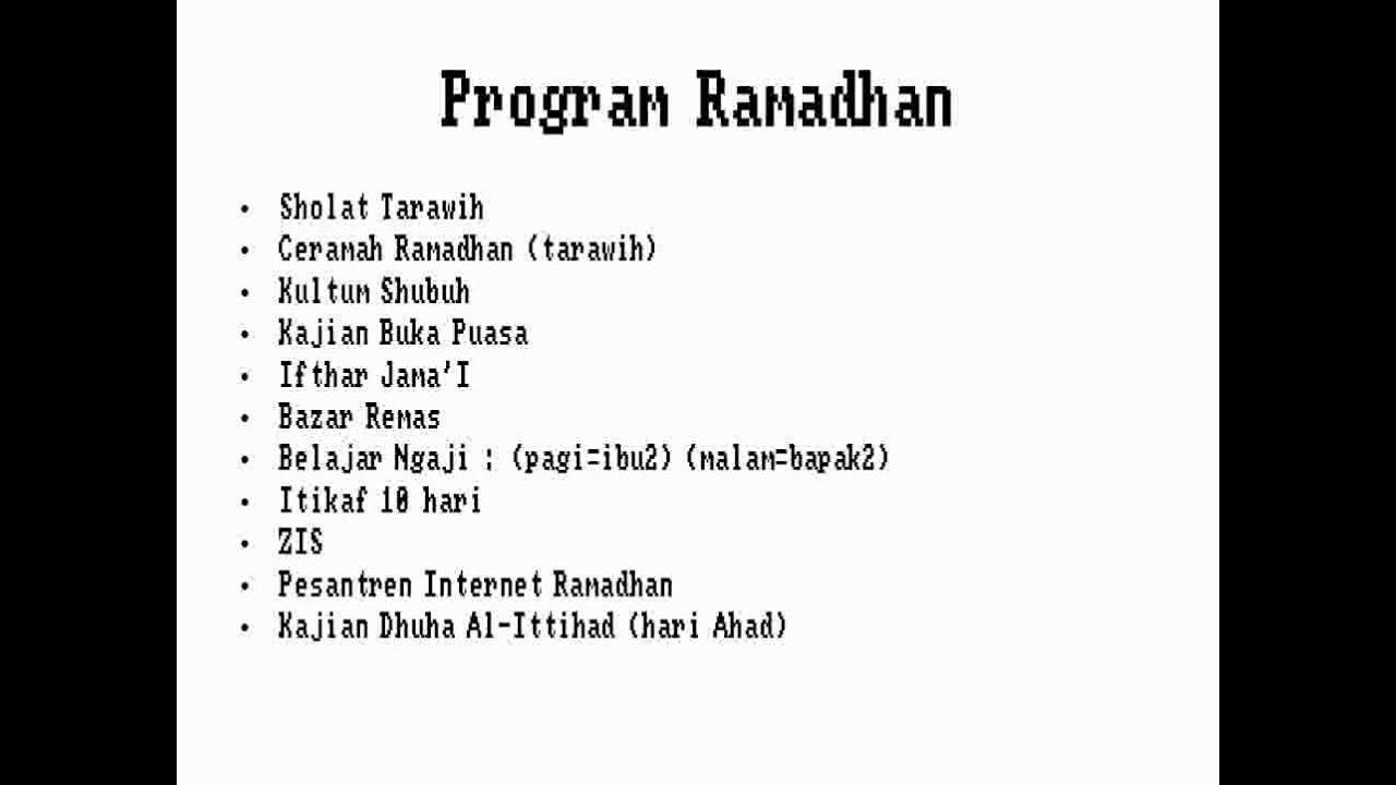 Proposal Panitia Ramadhan 1433 H Youtube