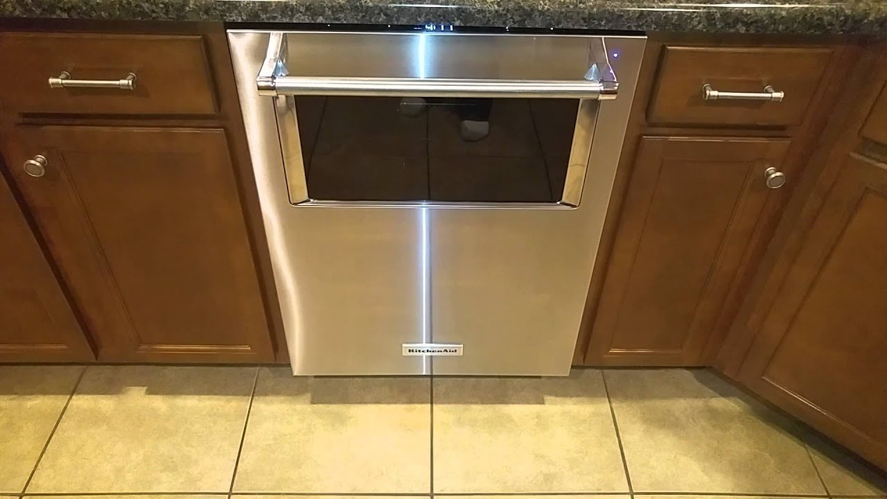 Kitchen Aide Dishwasher Cabinet Drawer Boxes Kitchenaid With Window And Lighted Interior In