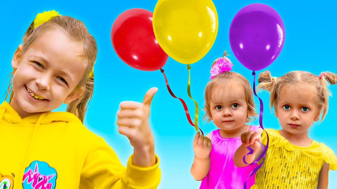Maya and Mary are playing with balloons - Song for children