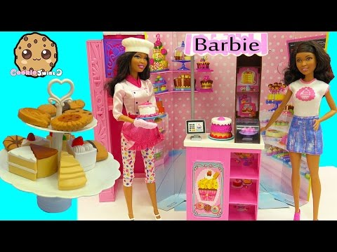 Cake + Cookie Balance Game Challenge - Sweet Chef & Bakery Owner Playset Barbie Dolls Unboxing