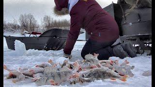 Взял Машу на раздачу окуня Рыбалка 2021 Семейный выезд просто в кайф Снегоход Бурлак Егерь