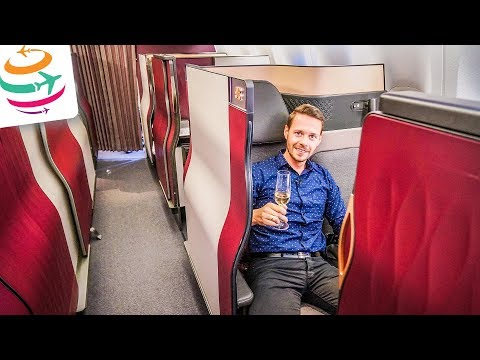 Qatar Airways Q Suite Business Class 777 Review (DE) | GlobalTraveler.TV