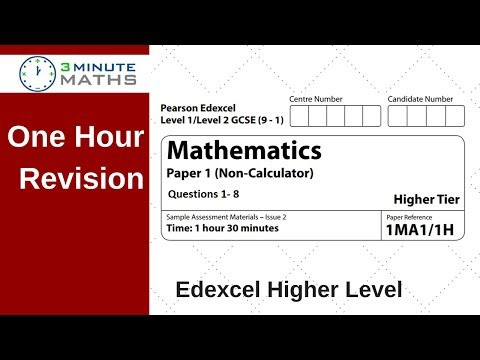 Edexcel GCSE Higher Maths Non Calc Questions 1 to 8. One hour revision.