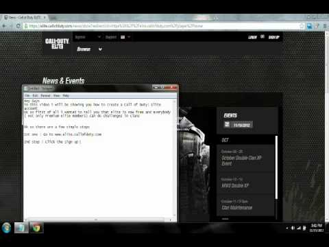 How to create a free Call of duty : Elite account September 2012.