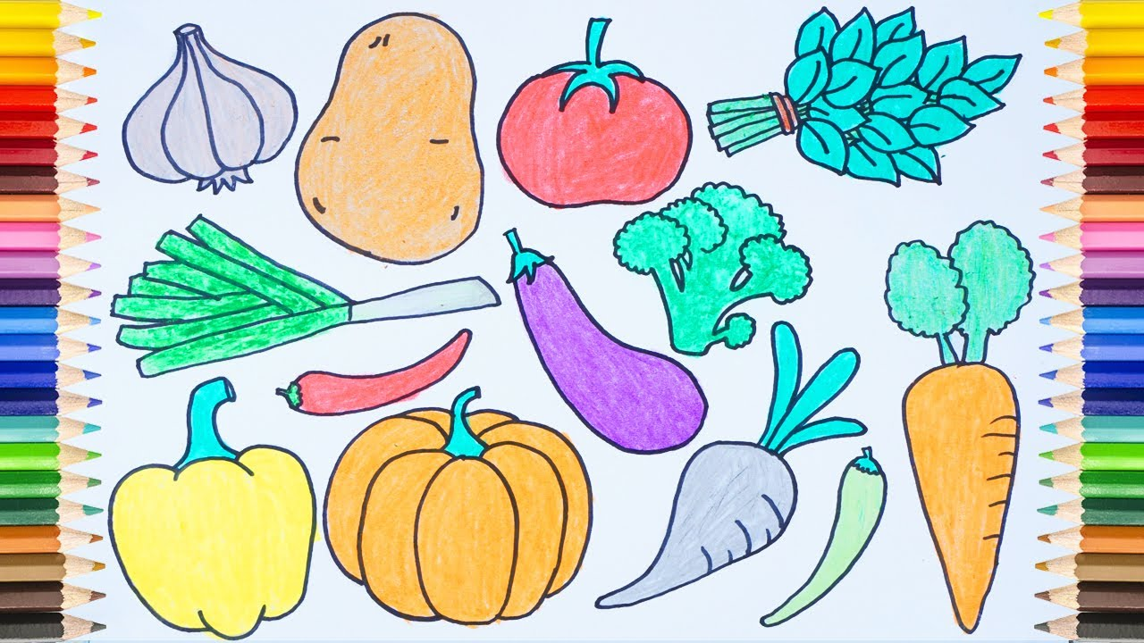 DRAW Many Tubers And Vegetables On One Page + Draw And Coloring