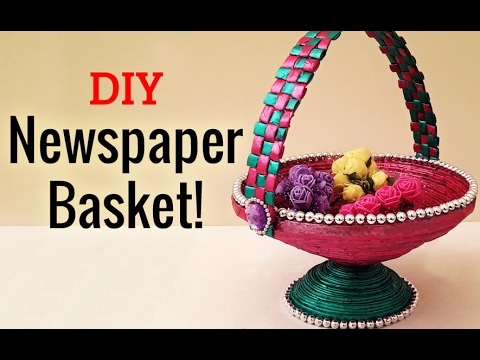 Learn How To Make Newspaper Basket Step By Step Newspaper Craft