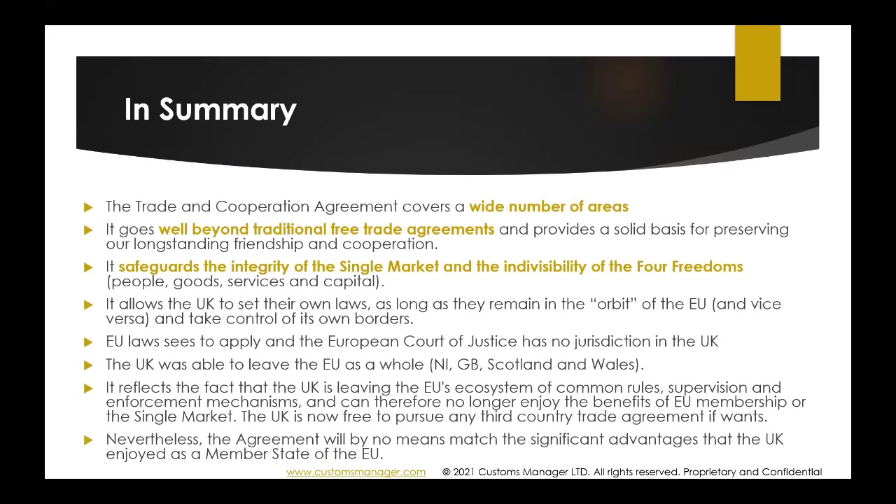 The EU-UK FTA explained for trade in goods explained in 15 minutes