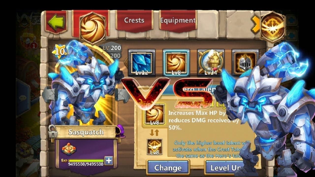 8 Survival | VS | 8 Sacred Light | Comparison | 12 Skill | Sasquatch |  Castle Clash